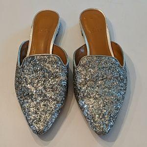 J. Crew Glitter Mule Slides Size 8 Silver